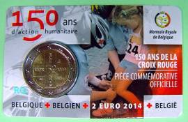 2 Euro Belgien 2014 - 150 Jahre Rotes Kreuz - Coincard