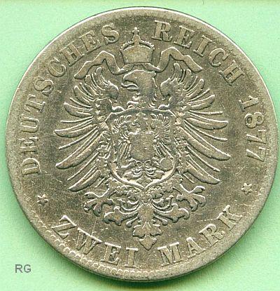 Briefmarken Münzen Am Dom Mi6 2 Mark Württemberg 1877 F