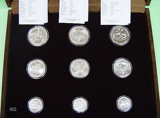 Briefmarken Münzen Am Dom Griechenland 9 Silbergedenkmünzen