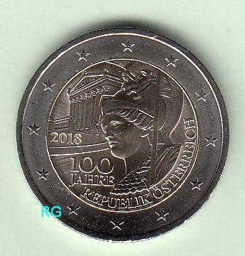Briefmarken Münzen Am Dom 2 Euro österreich 2018 100 Jahre