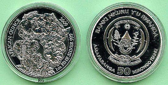 Briefmarken Münzen Am Dom Ruanda 50 Franc Elefant 2009 Pp