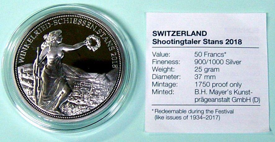 Briefmarken Münzen Am Dom Schweiz 50 Sfr Schützentaler Stans