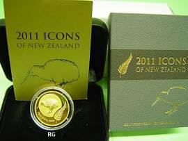 10 $ Neuseeland 2011 - Kiwi - Gold - Bild vergrößern