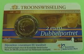2 Euro Niederlande 2013 - Thronwechsel / Doppelportrait - unc. Coincard - Bild vergrößern
