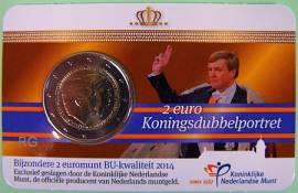 2 Euro Niederlande 2014 - Doppelportrait - stgl. Coincard - Bild vergrößern