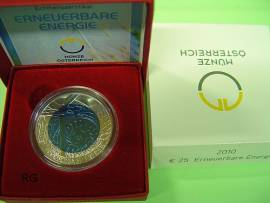 Österreich 25 € Niob 2010 - Erneuerbare Energie - - Bild vergrößern