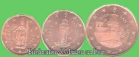 San Marino 1Cent, 2 Cent und 5 Cent Euromünzen  nur 1,50 € - Bild vergrößern