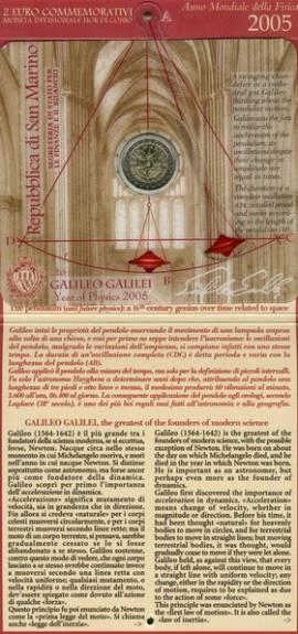 2 Euro San Marino 2005 - Galileo Galilei / Internationales Jahr der Physik - im Folder - Bild vergrößern