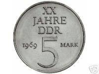 DDR 5 MARK XX JAHRE DDR 1969 NICKELPROBE BFR/ST