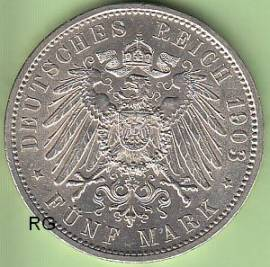 (Mi15) 5 Mark Baden 1903 G vz - stgl. - Bild vergrößern