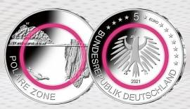 Deutschland 5x 5 € Polare Zone 2021 A, D, F, G, J (Polymer) bfr. in Kapseln