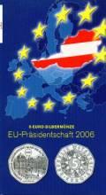 5 Euro Österreich 2006 EU-Präsidentschaft  im Blister