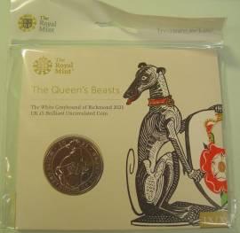Großbritannien 5 £ 2021 - Queens Beasts: White Greyhound - (cu/ni BU)