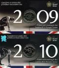 Großbritannien 4x 5 £ 2009 - 2012  - 'Serie Countdown (cu/ni) BU Blister