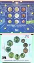 Italien 2011 - Kursmünzsatz stgl. + 2 € Vereinigung  -