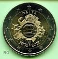 2 € Malta 2012 - 10 Jahre Euro Bargeld - bfr.