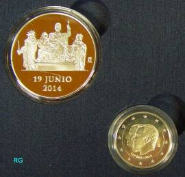 2 € Spanien 2014 - Proklamation von Felipe IV. + Medaille AG  PP - Bild vergrößern
