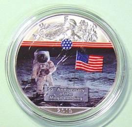 USA Silver Eagle 1 $ 2019 Erster Mann auf dem Mond bfr. teilcoloriert