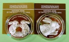 Weißrussland 2x 20 Rubel 2014 - Feldhasen - PP