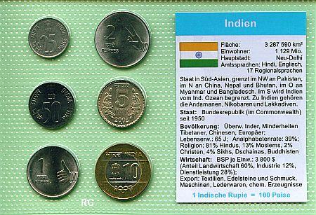 Druckansicht Kursmünzsatz Indien Bis 10 Rupien