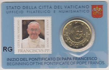 vatikan 50 cent 2013 papst franziskus coincard stamp. Black Bedroom Furniture Sets. Home Design Ideas